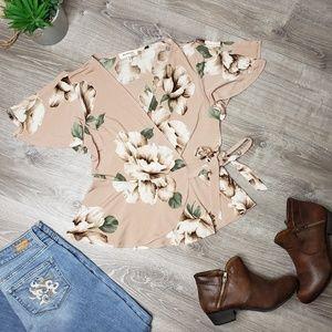 Monteau size large dusty rose butterfly sleeve